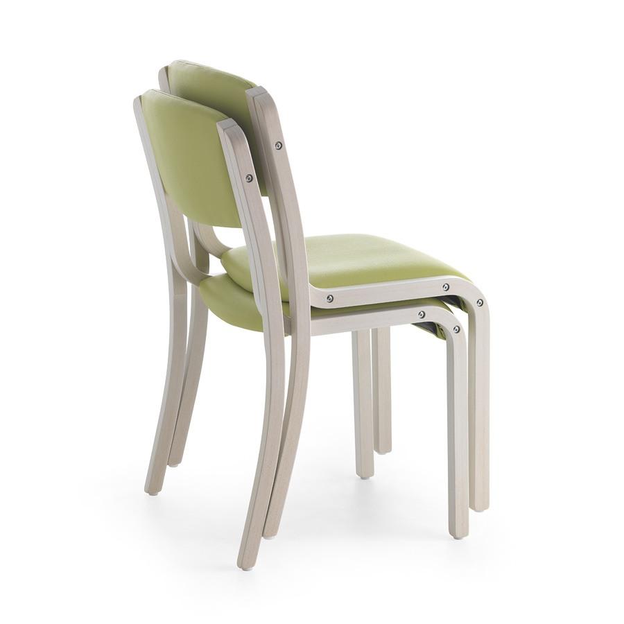 Marta 03 S, Chaise en bois recouvert de tissus mous, pour le restaurant