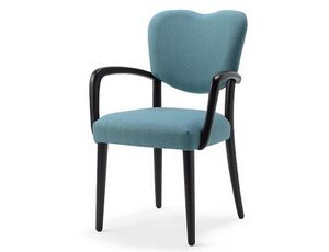 Mia-P1, Chaise en bois rembourrée, équipée d'accoudoirs