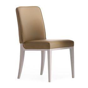 Opera 02211, Chaise en bois massif, assise et dossier rembourrés, revêtement en tissu, style moderne