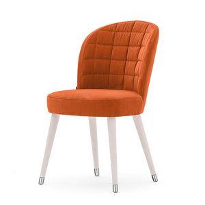 Rose 03014, Chaise rembourrée avec dossier recouvert de rectangles