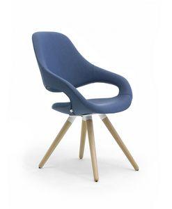 Samba Plus 4G bois, Chaise moderne avec 4 pattes de bois coniques