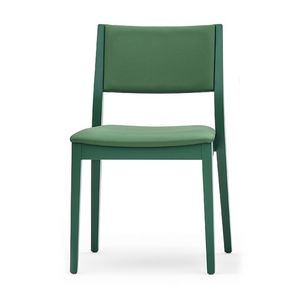 Sintesi 01512, Chaise en bois massif, siège et dossier rembourrés, style moderne