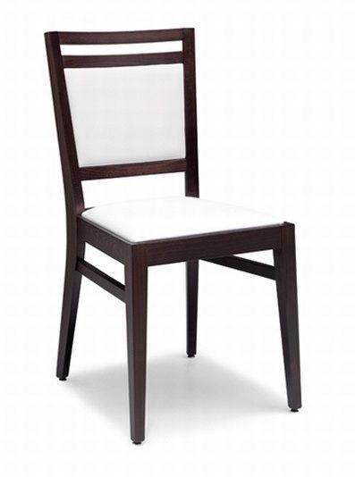 Solange, Chaise en bois avec siège rembourré et le dos