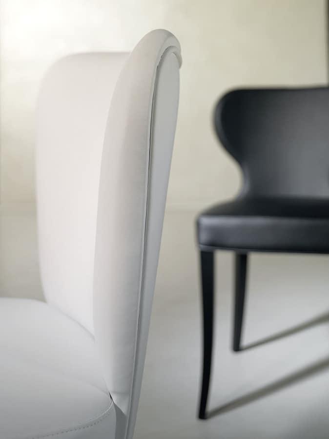 VENETO, Chaise rembourrée entièrement couvert en tissu