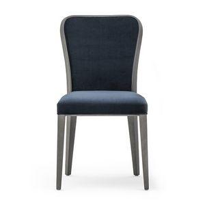 Wave 02711, Chaise en bois raffiné, avec siège et dossier rembourrés