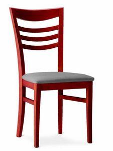 220 Sveva, Chaise en bois avec assise rembourrée