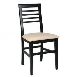 314 BIS, Chaise en hêtre, assise rembourrée, lamelles horizontales dos