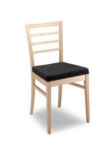 Anna ST, Chaise en bois moderne, dossier à lattes horizontales