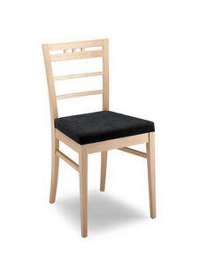 Anna ST2, Chaise en bois moderne avec dossier travaillé main