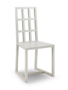 Cubik, Chaise en hêtre moderne, dossier avec des carrés