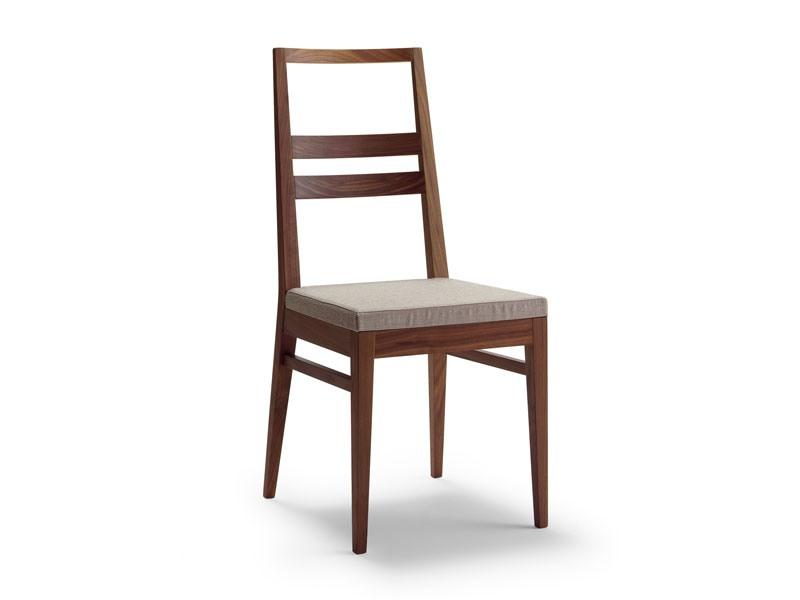 DENISE, Chaise en bois linéaire, assise rembourrée