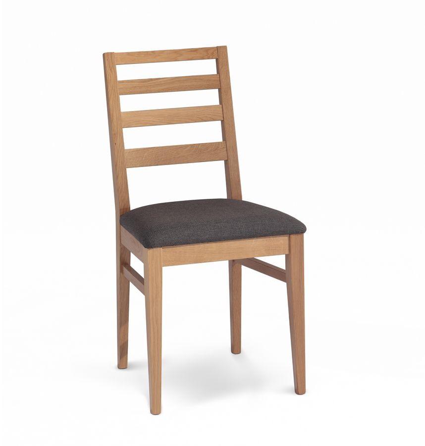Giada 5, Chaise rembourrée avec dossier avec des lattes de bois horizontales