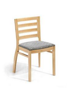Jessica ST, Chaise en bois massif, dossier à lattes horizontales