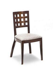 Ramona G, Chaise avec assise rembourrée, dossier avec des trous carrés