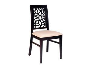 Samoa, Chaise en bois, assise rembourrée, dos perforé