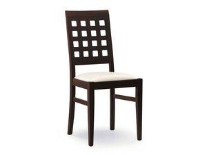 Sara, Chaise avec assise rembourrée, dos avec des trous carrés