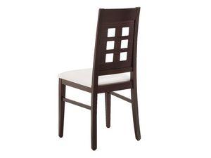 SE 490 / B, Chaise en bois, assise rembourrée, dossier avec des trous