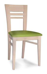 Susy ST, Chaise en bois de hêtre, dos à lamelles horizontales