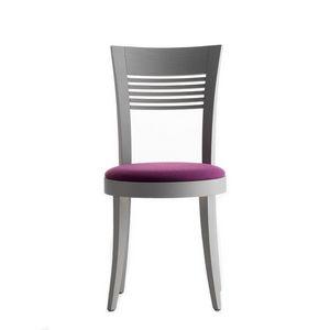 Vienna 01312, Chaise en bois massif, siège rembourré, revêtement en tissu, pour l'usage de contrat