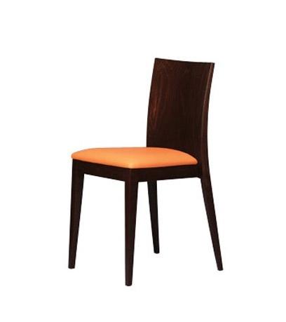 331 STK, Chaise rembourrée dans le hêtre, dossier plat, salle à manger