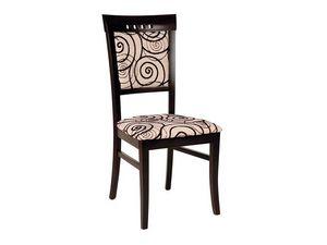 Creta, Chaise de salle à manger en bois, recouvert de tissu décoré