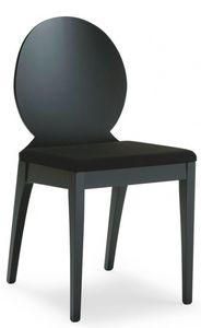 D08, Chaise en bois avec siège rembourré, revêtement en tissu, pour l'usage de contrat