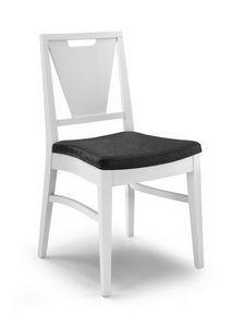 Gaia V, Chaise avec dossier en V et poignée, en bois