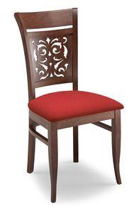 Gloria PANT, Chaise rembourrée avec dos en bois perforé