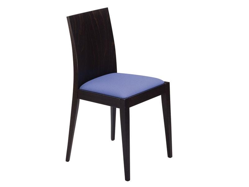 Masha/S, Chaise en bois avec siège rembourré pour les bars et restaurants