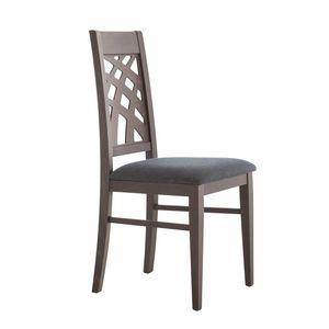 MP490D, Chaise avec dossier décoratif en bois