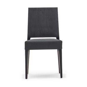 Timberly 01711, Chaise empilable, cadre en bois massif, siège rembourré, revêtement en cuir, pour les cantines