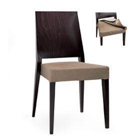 Timberly 01713, Chaise empilable, cadre en bois massif, siège rembourré pour les cantines