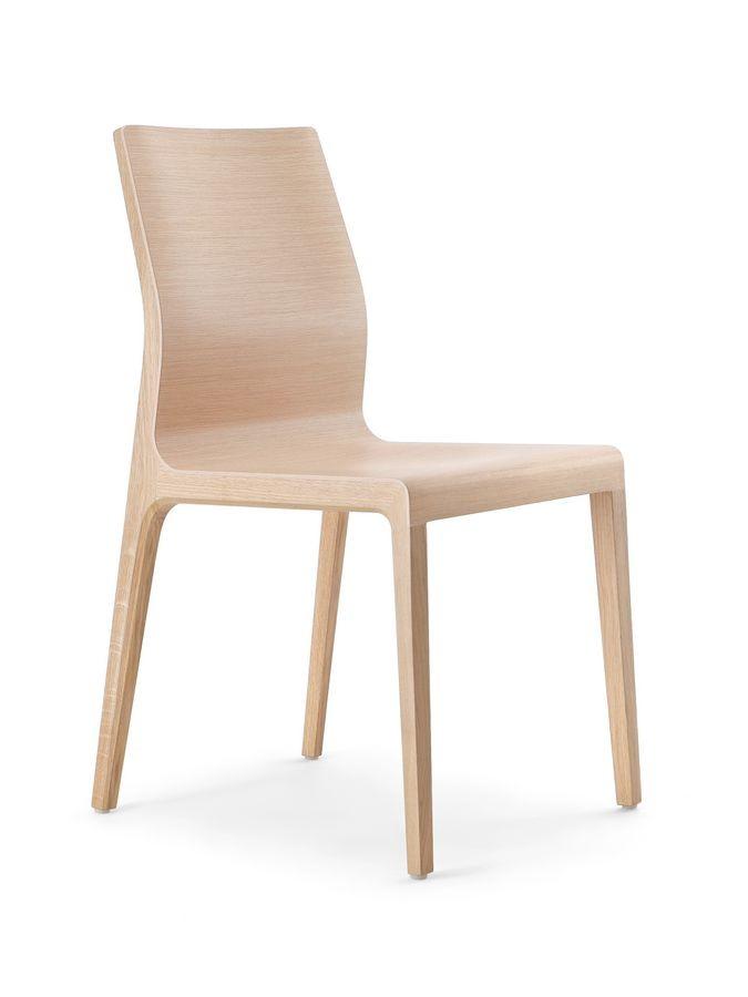 Wave, Chaise moderne avec coque en contreplaqué cintré