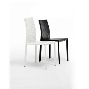 Chaise en cuir en acier et de caoutchouc pour le salon for Salle a manger jerry