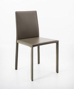 Aida, Chaise en cuir régénéré, linéaire et éclectique