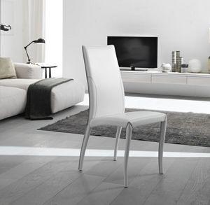 Amos, Chaise élégante, entièrement tapissé en cuir, pour salle à manger
