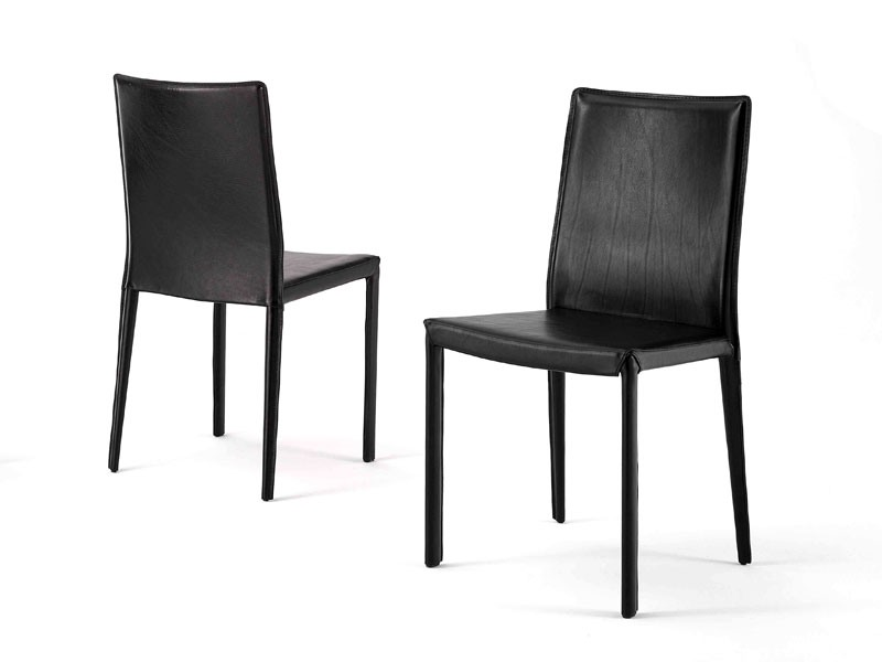 Anemone low, Chaise de salle à manger classique, en cuir, pour le salon