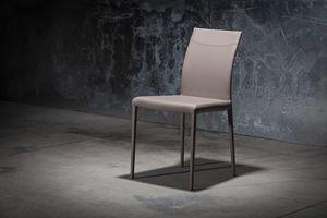ART. 252/1 SOFT MISS, Chaise recouverte de cuir avec structure en métal
