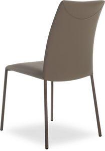 Belle, Chaise en métal empilable, revêtement en cuir véritable
