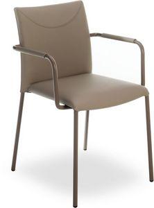 Belle PT, Chaise en métal empilable avec bras, recouvert de cuir véritable