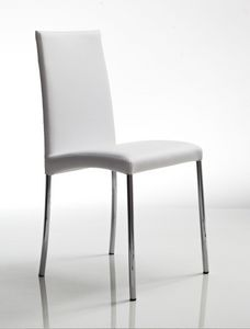 Chantal, Chaise en métal avec des jambes de chrome, sellerie cuir, pour la cuisine