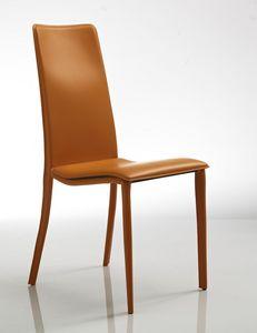 Cora, Chaise confortable, en cuir orange, pour restaurant et l'hôtel