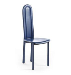 Elisa, Chaise pur salle à manger, avec dossier arrondi, sellerie cuir