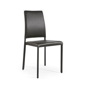 Emi, Chaise empilable complètement recouverte de cuir