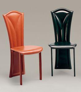 Fiore, Chaise recouvert de cuir, avec des lignes classiques, pour les restaurants et les hôtels