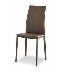 Giselle-A, Chaise en cuir avec dossier haut
