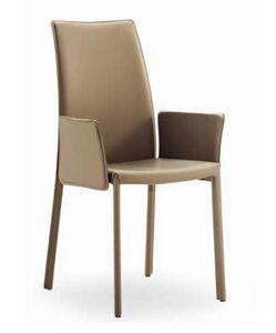 Giselle-AP, Chaise en cuir avec accoudoirs et dossier élevé