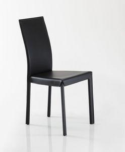 Jacqueline, Chaise entièrement recouvert de cuir, disponible en différentes couleurs à partir de l'échantillon
