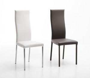 Jaqueline/P H Cromo, Chaise en métal chromé, sellerie cuir, disponible en différentes couleurs