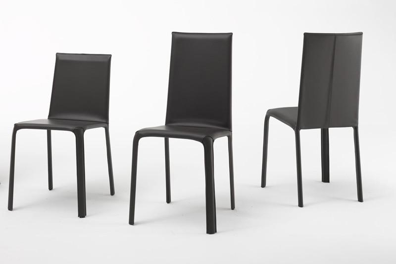 Jenia high, Chaise en métal, cuir et caoutchouc
